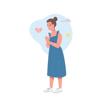 Personnage détaillé de couleur plat femme coeur brisé
