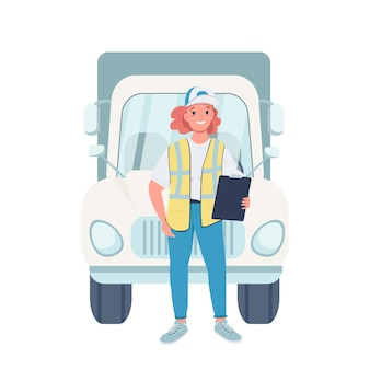 Personnage détaillé de femme chauffeur de camion plat couleur. égalité des sexes sur le lieu de travail. joyeuse camionneuse avec illustration de dessin animé de véhicule isolé pour la conception graphique et l'animation web