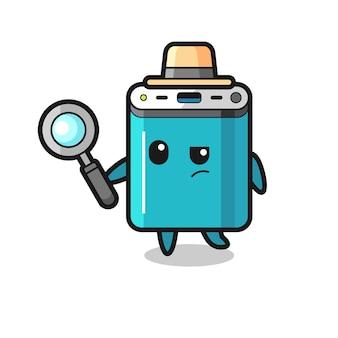 Le personnage de détective de la banque d'alimentation analyse un cas, un design de style mignon pour un t-shirt, un autocollant, un élément de logo