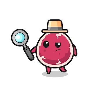 Le personnage de détective de boeuf analyse une affaire, un design de style mignon pour un t-shirt, un autocollant, un élément de logo