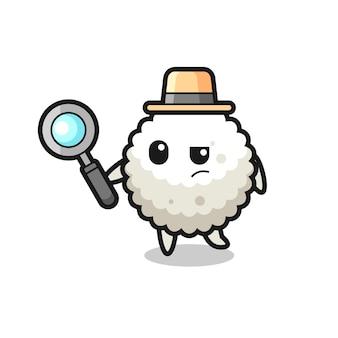 Le personnage de détective de boule de riz analyse un cas, un design de style mignon pour un t-shirt, un autocollant, un élément de logo