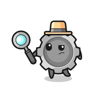 Le personnage de détective gear analyse un cas, un design de style mignon pour un t-shirt, un autocollant, un élément de logo