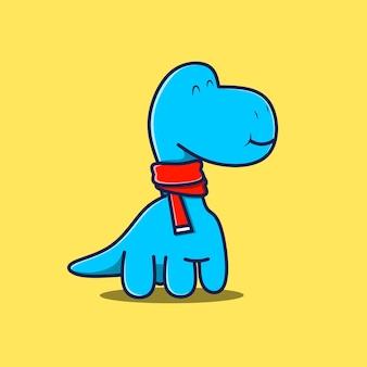 Personnage de dinosaure avec écharpe rouge