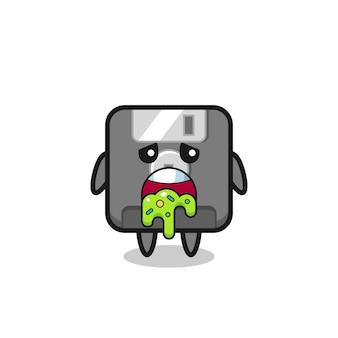 Le personnage de disquette mignon avec vomi, design de style mignon pour t-shirt, autocollant, élément de logo