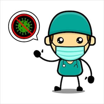 Personnage de docteur mignon avec un symbole de virus d'arrêt vecteur premium