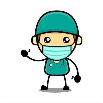 Personnage de docteur mignon vecteur premium