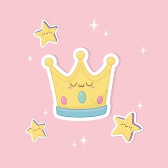 Personnage drôle de couronne kawaii