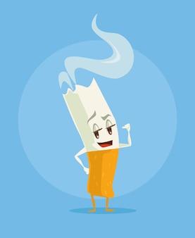 Personnage drôle de dessin animé de cigarette.