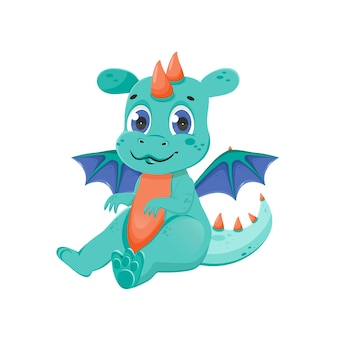 Personnage drôle de dragon de fée. animal magique mignon avec des ailes. illustration vectorielle isolée.