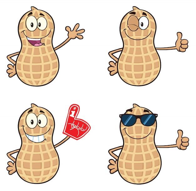 Personnage drôle de mascotte aux arachides
