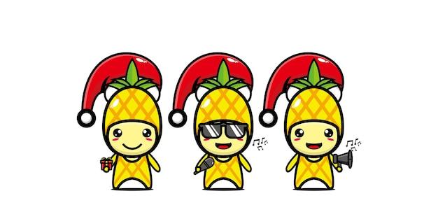 Personnage drôle mignon d'ananas célébrant noël personnage de dessin animé kawaii de ligne plate de vecteur