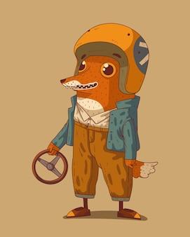 Personnage drôle de renard de bande dessinée dans la barre de moto avec le volant dans son bras