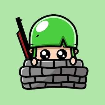 Le personnage du bébé soldat se cache derrière le mur des dessins kawaii