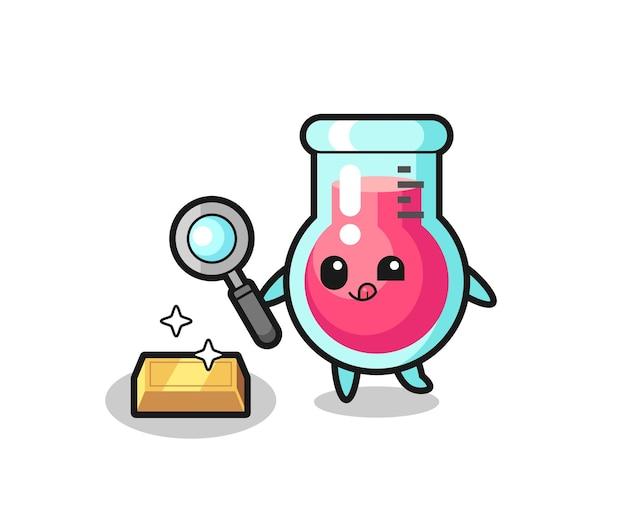 Le personnage du bécher de laboratoire vérifie l'authenticité des lingots d'or, un design de style mignon pour un t-shirt, un autocollant, un élément de logo
