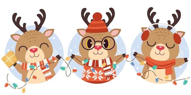 Le personnage du cerf mignon et des amis avec cercle et neige