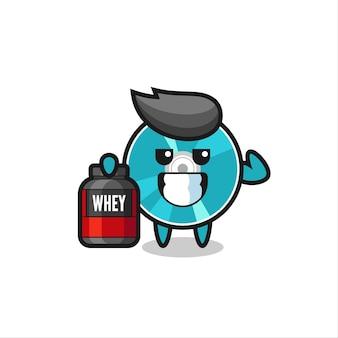 Le personnage du disque optique musculaire tient un supplément de protéines, un design de style mignon pour un t-shirt, un autocollant, un élément de logo