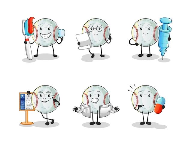 Le personnage du groupe de médecins de baseball. mascotte de dessin animé