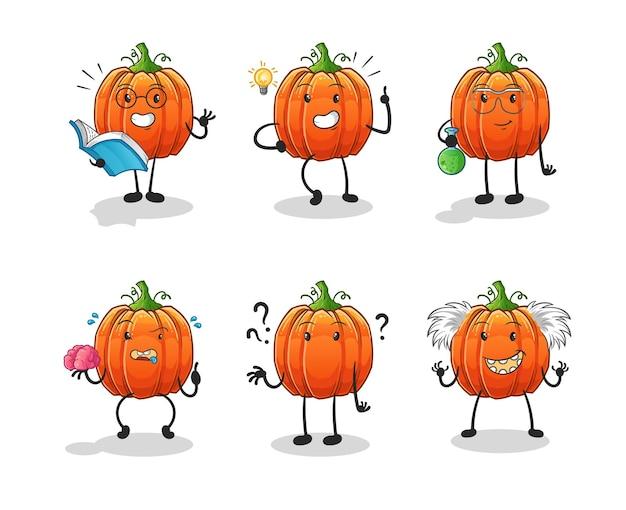Le personnage du groupe de réflexion citrouille. mascotte de dessin animé