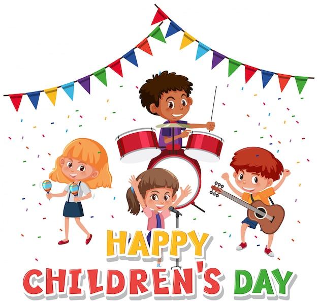 Personnage du jour des enfants heureux