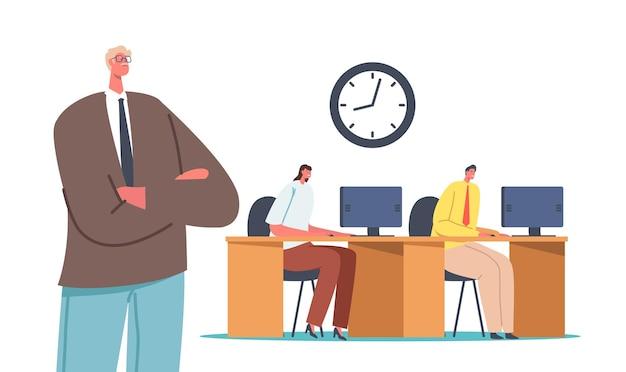 Le personnage du patron avec les bras croisés se tient derrière des employés ou des employés de direction assis au bureau travaillant sur des ordinateurs