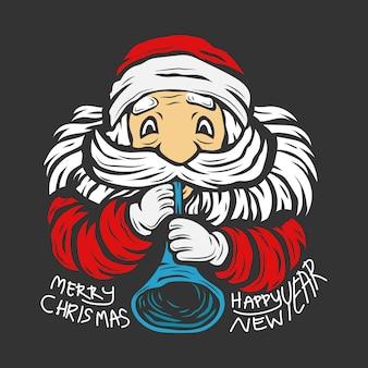Le personnage du père noël souffle la trompette pour célébrer joyeux noël et bonne année illustration
