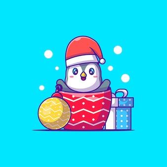 Le personnage du pingouin mignon porte un accessoire de noël avec une boîte-cadeau