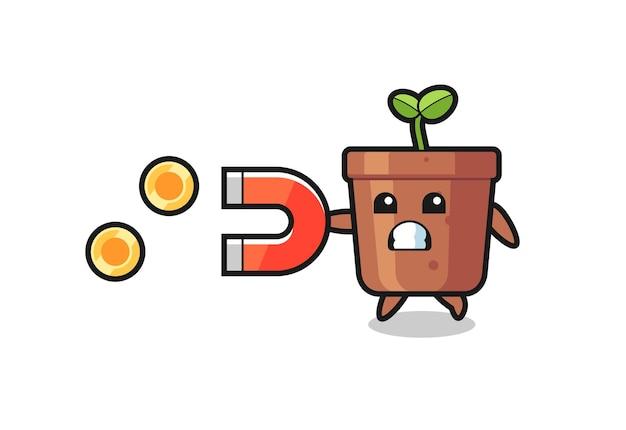 Le personnage du pot de plante tient un aimant pour attraper les pièces d'or, design de style mignon pour t-shirt, autocollant, élément de logo