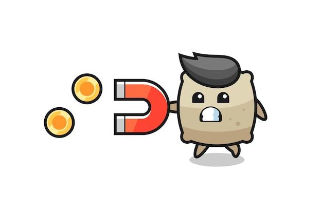 Le personnage du sac tient un aimant pour attraper les pièces d'or, design de style mignon pour t-shirt, autocollant, élément de logo