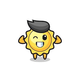 Le personnage du soleil musclé pose en montrant ses muscles, un design de style mignon pour un t-shirt, un autocollant, un élément de logo