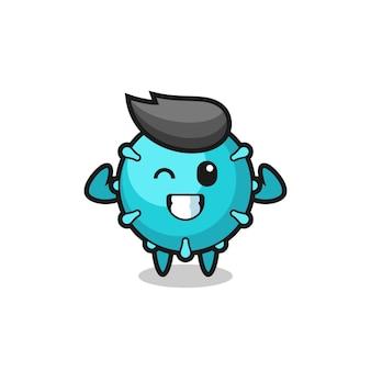 Le personnage du virus musculaire pose en montrant ses muscles, un design de style mignon pour un t-shirt, un autocollant, un élément de logo