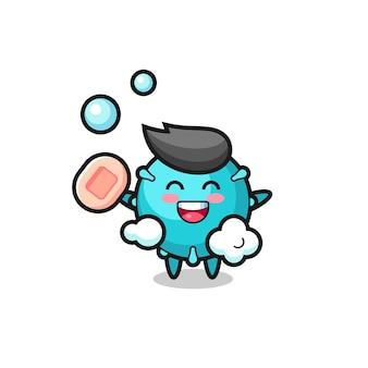 Le personnage du virus se baigne tout en tenant du savon, un design de style mignon pour un t-shirt, un autocollant, un élément de logo