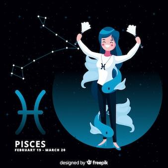 Personnage du zodiaque féminin dessiné à la main
