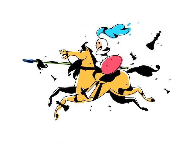 Personnage d'échecs, pion à cheval.