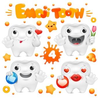 Personnage emoji de dessin animé de dent dans la collection d'émotions diverses