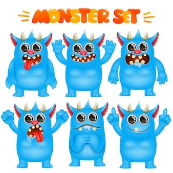 Personnage emoji de dessin animé monstre dans une collection d'émotions diverses