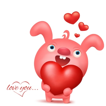 Personnage emoji de lapin rose avec coeur. carte d'invitation saint valentin