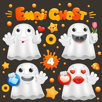 Personnage emoji mignon de bande dessinée fantôme dans la collection d'émotions diverses