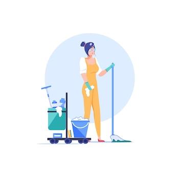 Personnage d'employé de l'entreprise de nettoyage de dessin animé au travail.