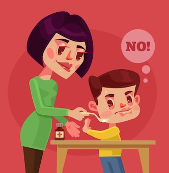 Le personnage enfant ne veut pas prendre de médicaments.