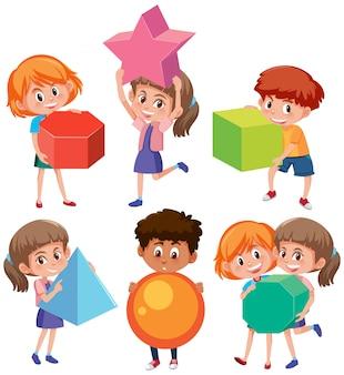 Personnage d'enfants tenant des formes géométriques