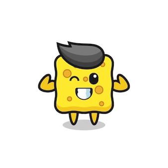 Le personnage d'éponge musculaire pose en montrant ses muscles, un design de style mignon pour un t-shirt, un autocollant, un élément de logo
