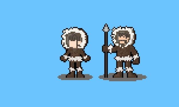 Personnage esquimau de dessin animé pixel art.