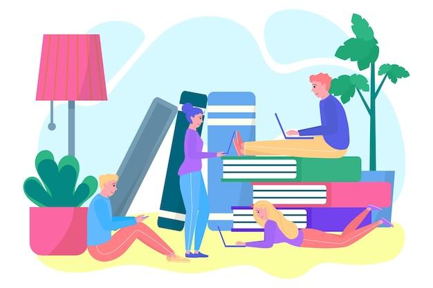 Le personnage étudiant acquiert ensemble des connaissances en ligne. des petits camarades de classe travaillent avec un ordinateur portable à plat.