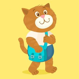Personnage étudiant chaton avec sac