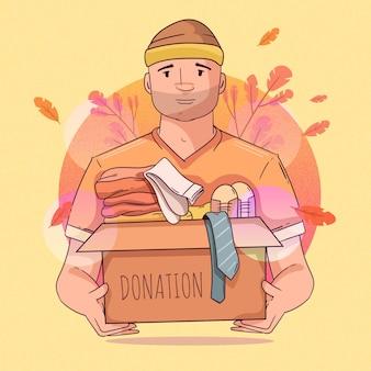 Personnage faisant don de son concept de vêtements