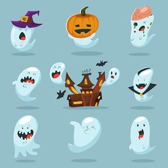 Personnage fantôme mignon en costume.