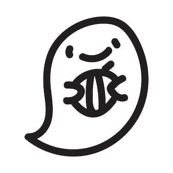 Personnage fantôme mignon doodle avec citrouille. illustration vectorielle de halloween fantôme heureux dessin animé. impression d'invitation de carte de fête, impression de chemise ou de produit, conception d'autocollants