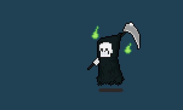 Personnage de faucheuse de dessin animé pixel art avec deux esprit vert.