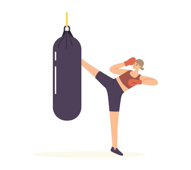 Personnage féminin dans des gants de boxe donnant un coup de pied à la formation de sac de frappe pour la pratique de l'autodéfense ou se préparer à combattre la concurrence
