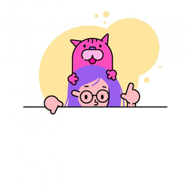 Personnage féminin avec mignon chat animal domestique, femme pointant vers le bas et vers le haut, lieu de texte vide sur blanc, illustration.